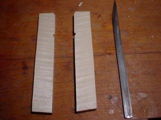 二つに切断した柄と刃